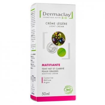 DERMACLAY - Crème matifiante bio Anti imperfections - Peaux grasses - 50ml