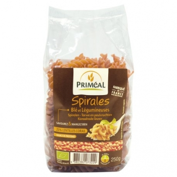 Spirales Blé Lentilles corail 250g-Priméal