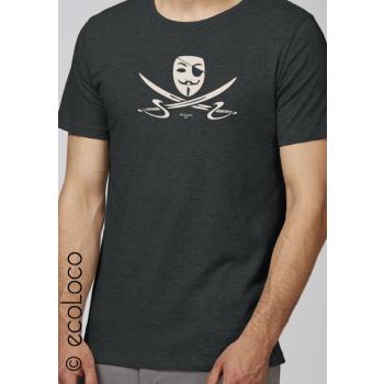 T shirt bio d'été PIRATE militant équitable vêtement vegan fairwear imprimé en France artisan