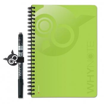 WHYNOTE® A5 VERT - Bloc-Notes pages blanches / Réutilisable à l'infini
