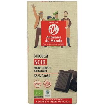 Chocolat noir équitable et bio 58% - 100gr