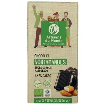 Chocolat noir équitable et bio aux amandes - 100g