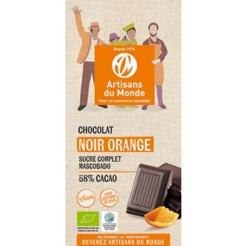 Chocolat noir équitable et bio à l'orange - 100gr