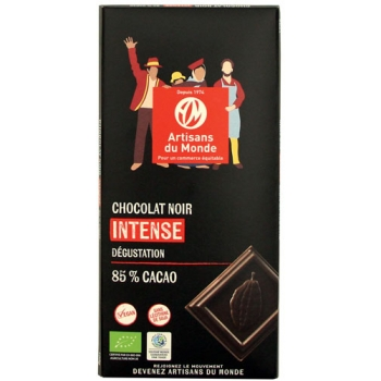 Chocolat noir intense bio, 85% de cacao -100g