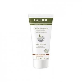 CATTIER - Crème mains ultra nourrissante bio - Argile blanche 75ml