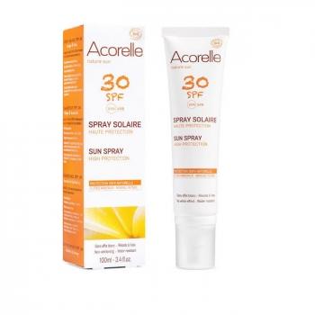 ACORELLE - Spray solaire bio SPF30 Haute protection - Visage et corps - 100ml