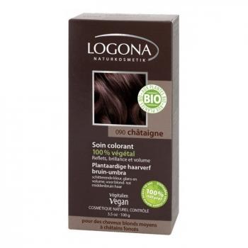 LOGONA - Châtaigne - Soin colorant végétal - Reflets pour cheveux blonds à châtains foncés 100g