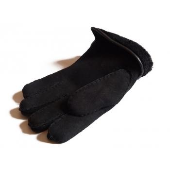 Gants HOMME Peau lainée / contour cuir noir