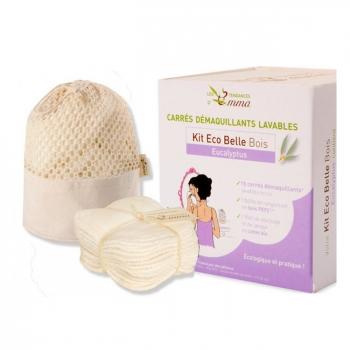 LES TENDANCES D'EMMA - Kit Eco Belle Bois Eucalyptus - 15 carrés démaquillants lavables