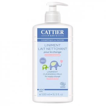 CATTIER - Liniment bio bébé - Lait nettoyant pour le change 500ml