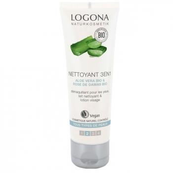 LOGONA - Nettoyant 3 en 1 bio Visage Aloe vera - Tous types de peaux 100ml