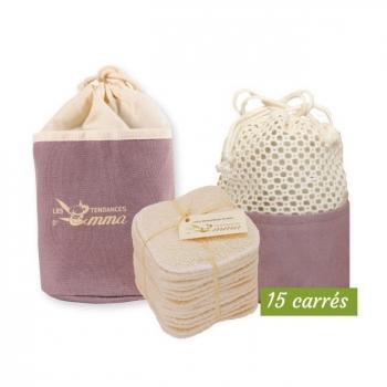 LES TENDANCES D'EMMA - Kit Eco Belle Trousse Bambou écru - 15 carrés démaquillants lavables
