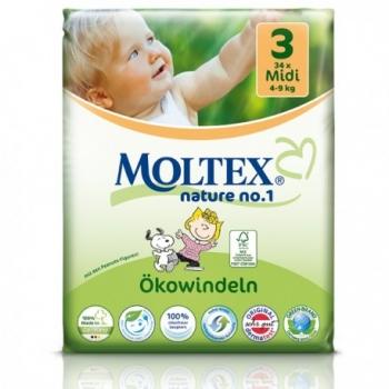 Couches écologiques jetables T3 - 4-9kg - 34 couches - Moltex