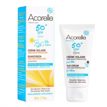 ACORELLE - Crème solaire bio SPF50+ pour Bébé - Très haute protection - Tube 50ml