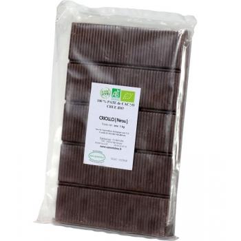 Bloc pâte de cacao CRU Bio 100% de 900 gr