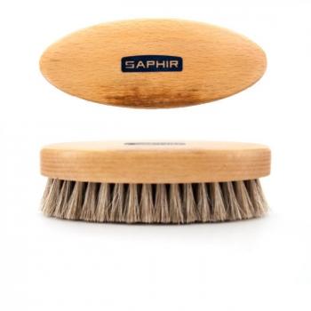 SAPHIR - Brosse ovale en crin de cheval pour entretien du cuir - Grise