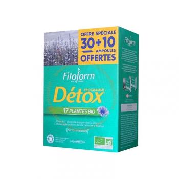 Programme Détox Bio - 17 plantes purifiantes - 40 ampoules de 10ml