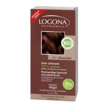 LOGONA - Chocolat - Soin colorant végétal - Reflets pour cheveux blonds à châtains foncés 100g