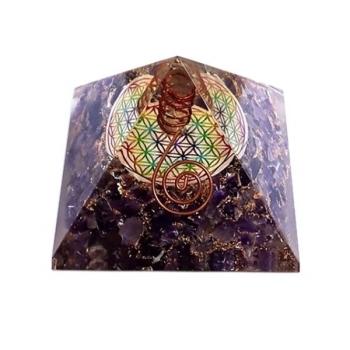 Orgonite pyramide avec fleur de vie