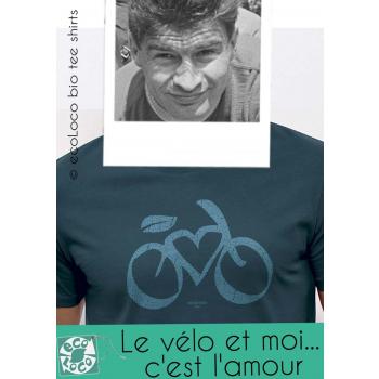 T-shirt bio cycle LOVE VELO France artisan équitable vegan fair wear