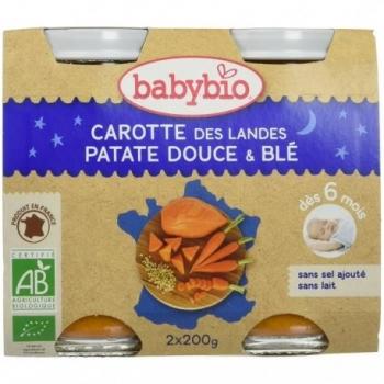 Carotte des Landes, Patate Douce et Blé - 2x200g - Babybio