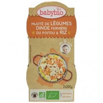 Mijoté de Légumes, Dinde Fermière du Poitou et Riz - 2x200gr - Babybio