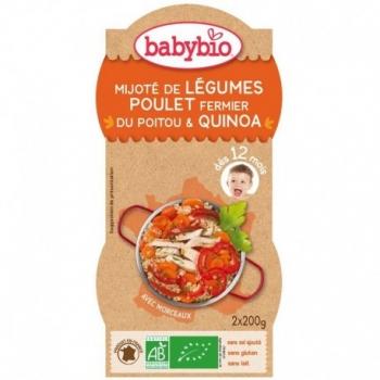Mijoté de Légumes, Poulet Fermier du Poitou et Quinoa - 2x200gr - Babybio