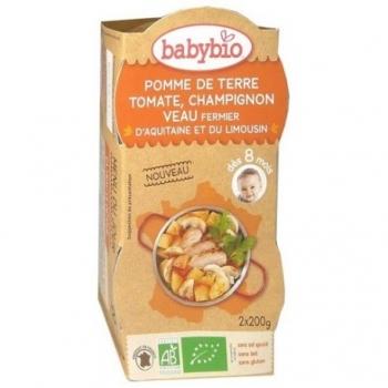 Pomme de Terre, Tomate, Champignon et Veau Fermier d'Aquitaine  - 2x200gr - Babybio