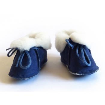 Chaussons bébé bleu nuit, fourrés en peau de mouton