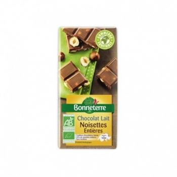 Chocolat Lait Noisettes Entières 100g -Bonneterre