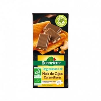 Chocolat Lait Noix de Cajou Caramélisées 85g -Bonneterre
