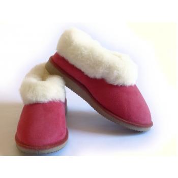 Chaussons mixtes rouges, fourrés en peau de mouton