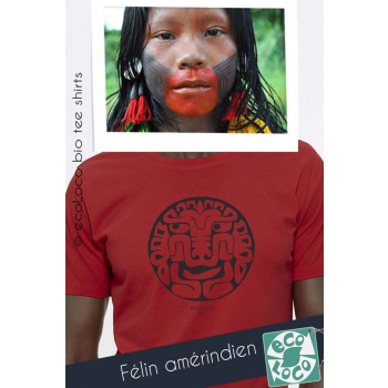 T shirt bio FELIN AMERINDIEN imprimé en France artisan vêtement vegan fairwear