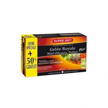 Gelée Royale Miel d'Acacia, Pollen Bio - 20 Ampoules +10 Ampoules Gratuites - SuperDiet