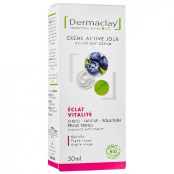 DERMACLAY - Crème active jour bio Eclat Vitalité Teint terne 50ml