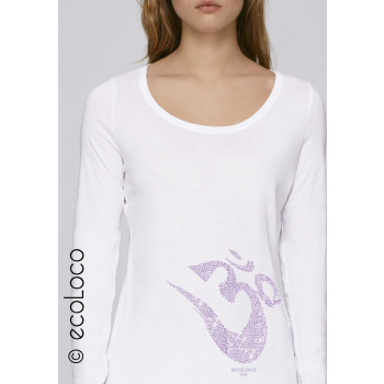 T-shirt bio OM YOGA MANTRA manches longues imprimé en France artisan mode éthique équitable fairwear vegan