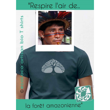 T-shirt bio RESPIRE arbre poumon imprimé en France artisan vêtement équitable vegan fairwear