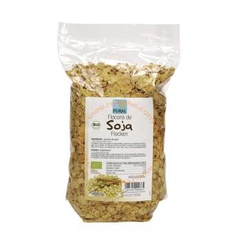 Flocons de Soja Bio, Vegan et Sans Gluten - Légèrement grillés - 500g