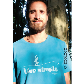 T-shirt bio LIVE SIMPLY slackline imprimé en France artisan vêtement équitable vegan fairwear
