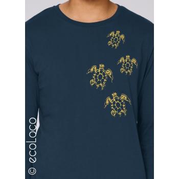 T-shirt bio TATOO TORTUES MAORI imprimé en France artisan manches longues équitable vegan fairwear