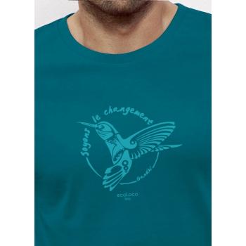 T shirt bio SOYONS LE CHANGEMENT  COLIBRI Gandhi oiseau Tatoo