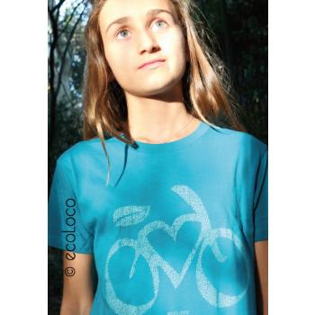 T shirt bio LOVE VELO  imprimé en France artisan mode éthique équitable vegan fairwear enfant bleu