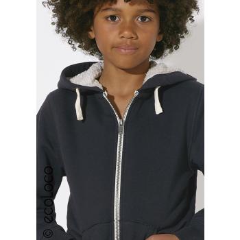 Veste bio zippé sherpa mode éthique enfant vegan
