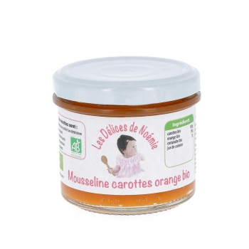 Mousseline carottes orange bio, 120 g