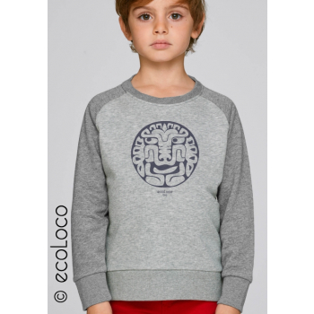 Sweat shirt bio enfant FELIN AMERINDIEN  imprimé en France artisan vegan fairwear