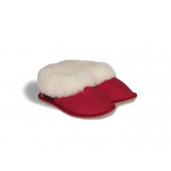 Chaussons enfant  rouge, fourrés en peau de mouton