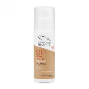 Crème solaire visage teintée SPF30 certifiée bio