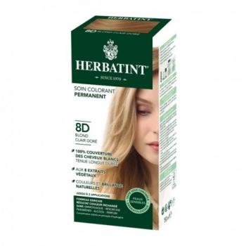 Coloration Cheveux Naturelle 8D Blond Clair Doré - 150ml - Herbatint