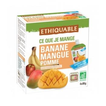 ETHIQUABLE - Purée Banane, Mangue, Pomme bio & équitable en gourde