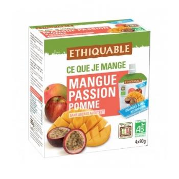 ETHIQUABLE - Purée Mangue, Passion Pomme bio & équitable en gourdes